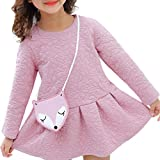 Toamen Toamen Mode Occasionnel Filles Princess Manches Longues O-Neck Mini Robe + OrnamentsCasual Girls Princess Long Sleeve O-Neck Mini Flower Dress +Renard Ornements (6 -7 Ans, Rose)