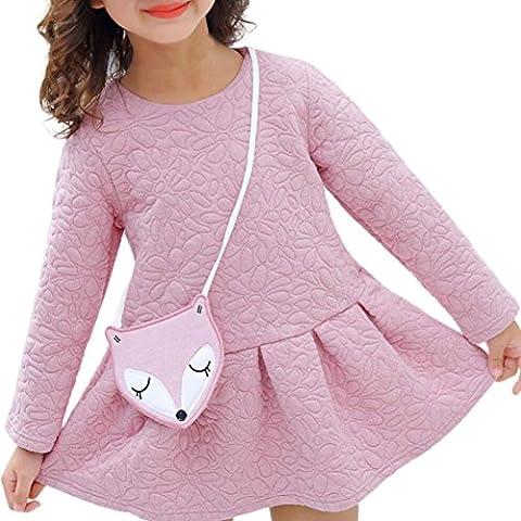 Toamen Mode Occasionnel Filles Princess Manches Longues O-Neck Mini Robe + Ornaments
