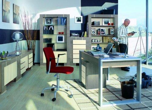 QMM TraumMöbel Büromöbel Set NEW GENERATION Eiche Grau&Creme Büro komplett Arbeitszimmer 6 teilig Standregal Schreibtisch Kommode Wandregal