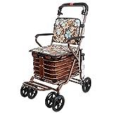 MYCM Walker Personnes âgées Chariot Pliable Portable 4 Roues Panier Chaise Confortable, Gold