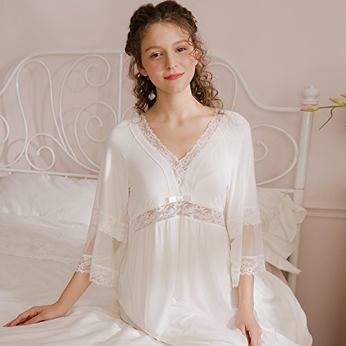 JINSHENG im frühling und Sommer Spitzen v - Kragen - Gericht langärmelige Nachthemd Langen Tennis - Pyjamas nachtwäsche sexy zu kleiden,160 (m),weiße