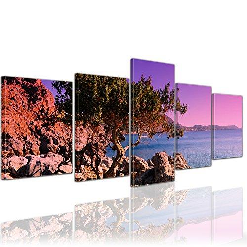 Wandbild - Mediterraner Baum auf Rhodos - Griechenland - Bild auf Leinwand auf 200x80 cm 5 teilig - Landschaften - Europa - violetter Sonnenuntergang über dem Mittelmeer