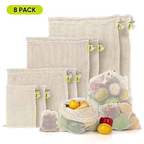 WayEee Obst- und Gemüsebeutel 8 Stück Einkaufstüten Wiederverwendbare, waschbar Gemüsetasche Netz 100% Baumwolle Obstbeutel für Snack und Brot mit Gewichtsanzeige