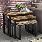FineBuy 3er Set Design Satztisch BALLARI Beistelltisch 3-teilig Massivholz Tisch | Industrie Couchtisch eckig modern Holztisch mit Metallbeinen | Loft Wohnzimmertisch modern | Anstelltische
