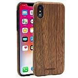 """Cover iPhone X legno Custodia, SHOWKOO Natura Legno Elegante Protettiva Ultrasottile e Ultraleggera Antiurto Durable Caso Per iPhone X 5.8"""" - Black Walnut"""