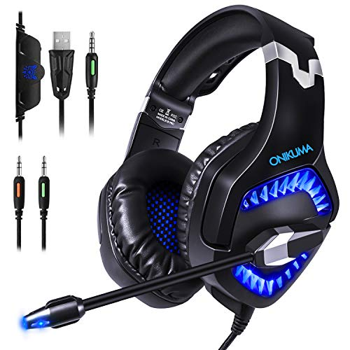 Glamsvill cuffie gaming per ps4 - cuffie over ear cuffie cancellazione rumore con microfono controllo del volume e luce led cuffie da gaming per ps4 xbox one nintendo switch pc laptop