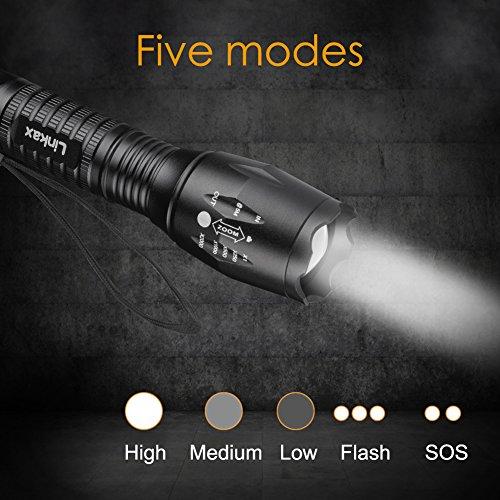 Linkax-Linterna-LED-Alta-Potencia-Linterna-de-Mano-Linternas-Tctica-Militar-Linternas-Antorcha-800-LM-Flashlight-LED-de-5-Modos-para-Ciclismo-Camping-Montaismo-incluida-3-AAA-Pilas