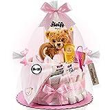 Timfanie® Windeltorte   Steiff Bärchen 3in1 (1-stöckig rosa-punkt)   Windeln Gr. 2 (Baby 4-8 Kg)