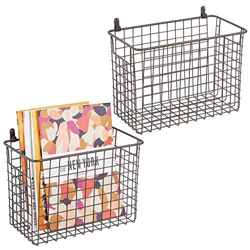 mDesign 2er-Set Wandregal aus Metall - großer Ablagekorb für Flur, Schlafzimmer und andere Räume - Organizer für Briefe, Geldbörsen, Sonnenbrillen oder Badaccessoires - bronzefarben