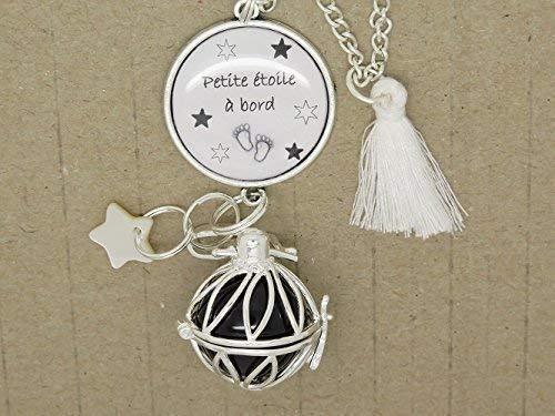 BOLA personnalisable ARGENT PLAQUE BOLA DE GROSSESSE, collier sautoir avec cabochon personnalisable cadeau future maman, cadeau de grossesse; cadeau fête prénatale.