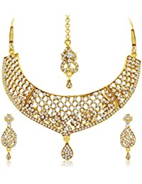 Sukkhi Classy Gold Plated AD Necklace Set For Women