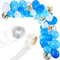 Tatuo 112 Pieces Balloon Garland Kit Balloon Arch Garland for Wedding Birthday Party Decorations (White Blue)