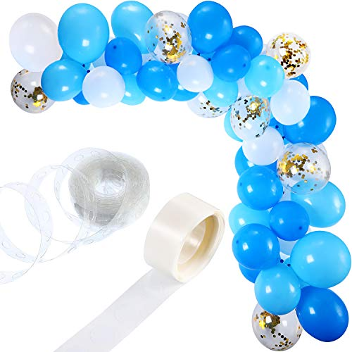 Tatuo 112 Stück Ballon Girlande Kit Ballon Arch Garland für Hochzeit Geburtstag Party Dekorationen (Weiß Blau) (Dekorationen Blau Hochzeit)
