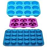 Teglia per muffin in in silicone antiaderente, 12 tazze e mini 24 tazze, set di 3 vassoi per cupcake, 9 stampi per ciambella, lavabile in lavastoviglie, senza BPA