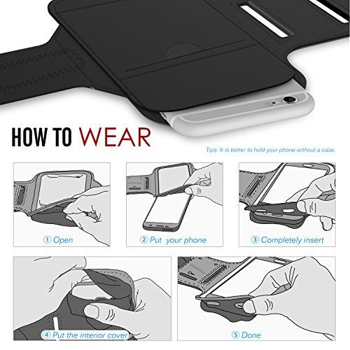 "MoKo iPhone 6S Plus Armband - Sweatproof Joggen Laufen Sport Armband Handy Hülle Schutzhülle Case + Schlüsselhalter Kopfhörer Anschluss für Apple iPhone 6 Plus / 6S Plus 5.5"", Smartphone, Schwarz Marineblau"