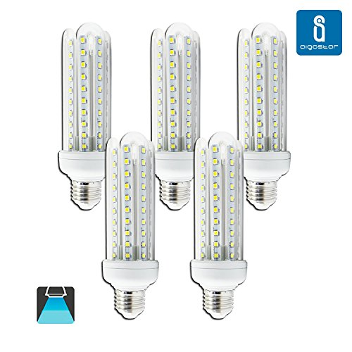 Aigostar - Bombilla LED B5 T3 4U, E27, 15 W equivalente a 120 W, 6400K, 1200 lúmenes, no regulable -Pack de 5