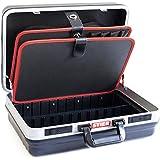 STIER Werkzeugkoffer Basic leer | ABS-Kunststoff Kofferschale | stabil & schlagfest | Tragkraft 15 kg | 30 große Werkzeugtaschen I Abschließbar mit 2 Schlüsseln