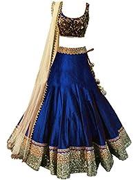 Clickedia Girls Bhagalpuri Silk Lehenga Choli With Blouse Piece_Blue_Free Size -Age (8-12 Years)