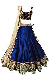 Clickedia Womens Silk Lehenga Choli (Kids Meera navy blue_Navy Blue _Free Size)