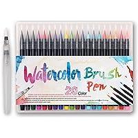 Set de rotuladores con punta de pincel - 20 colores - Rotuladores Pincel con tinta acuarelable, a base de agua, no toxica - Punta Suave, Delicada, Flexible Perfecta para caligrafía,manga, comic