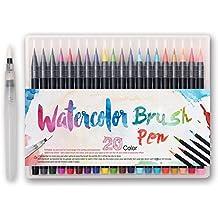 Pennarelli punta pennello – 20 colori vivaci + 1 pennello ad acqua per mescolare i colori, vera punta a pennello soffice e flessibile, alta qualità,crea l'effetto acquerello,ideale per calligrafia, scrittura (Nero)