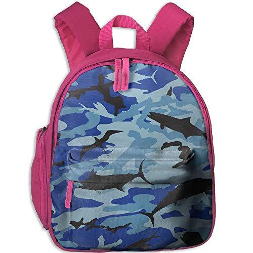 Lovely Schoolbag Blue Camo Shark Rucksack mit doppeltem Reißverschluss, wasserfest, für Kinder (Sexy Cop Stiefel)