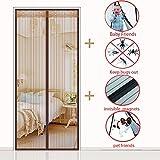 Magnet vorhang, Heavy-duty Magnetischer fliegengitter für Verschlüsselung Wand vorhang Full-frame-magie-aufkleber Home Hält mücken-braun 130x200cm(51x79inch)