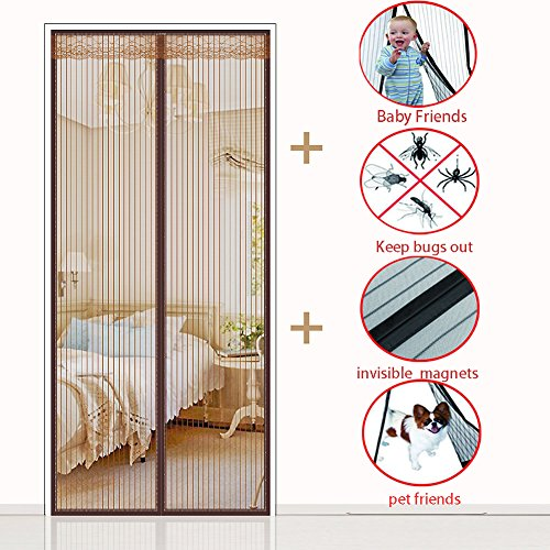 Magnet vorhang, Heavy-duty Magnetischer fliegengitter für Verschlüsselung Wand vorhang Full-frame-magie-aufkleber Home Hält mücken-braun 110x210cm(43x83inch)