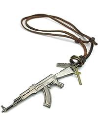 KONOV Schmuck Herren Halskette, Armee Stil AK47 Kreuz Pistole Legierung Anhänger mit Verstellbaren Größen Leder Echtleder Seil Kette, Braun