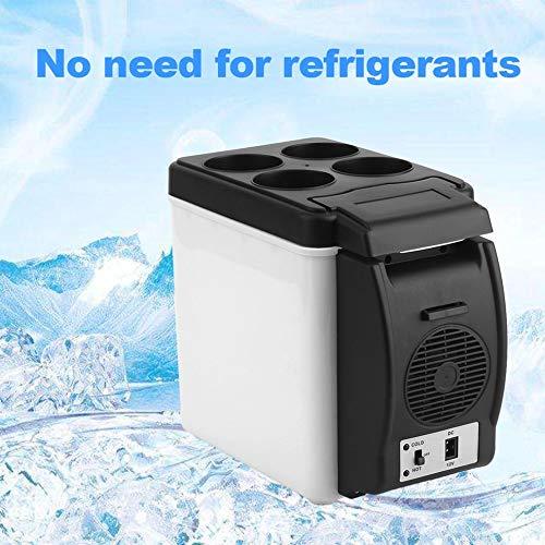 Smile Camping Home Mini Taille 12V Voiture Petit Réfrigérateur Mini Réfrigérateur Refroidisseur & Chauffe Capacité suffisante 6L Blanc Pas Besoin de réfrigérants