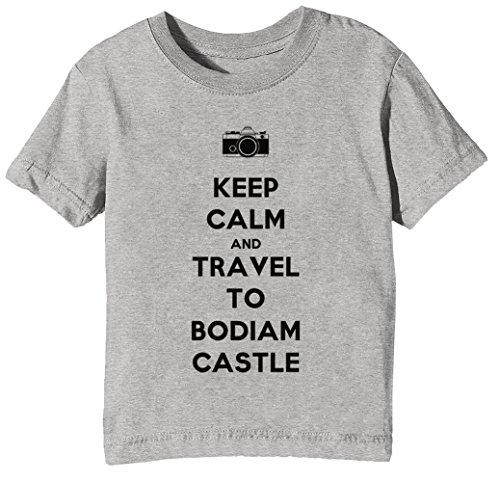 Keep Calm and Travel to Bodiam Castle Kinder Unisex Jungen Mädchen T-Shirt Rundhals Grau Kurzarm Größe XL Kids Boys Girls Grey X-Large Size XL -