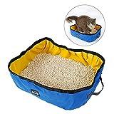 UEETEK Tragbar Katze Wurf Kasten Wasserdichte Faltbare Katze Wurf Pan für Reisen Hausgebrauch, Unterstützung Haustiere unter 7.5KG (blau)