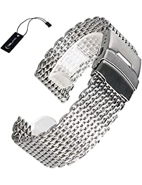 YISUYA 20mm Uhrenarmband aus Edelstahl, Milanaise Shark Mesh, Silberfarben