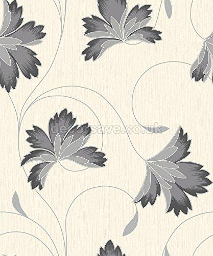 Ebano/Crema-M0567-flourish-Corona Carta da parati