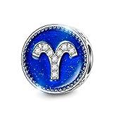 NINAQUEEN Aries 12 Constelaciones Mujer Abalorio Día de la madre Charm Plata 925 Compatible Pulsera Pandora Joyas Regalo para Cumpleaños Aniversario día de San Valentín Día de la Madre Navidad Niña