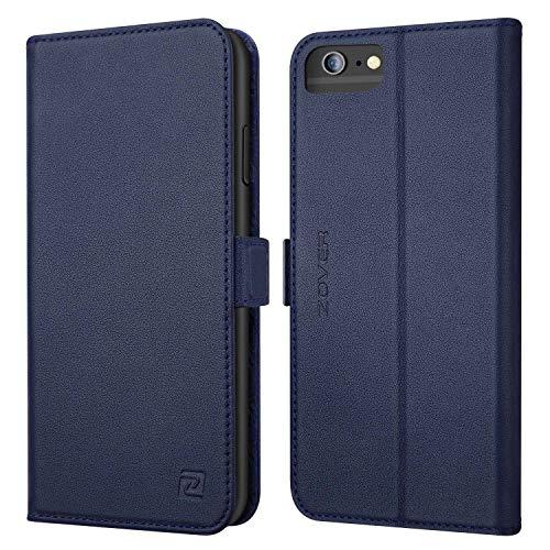 Hülle iPhone 6 Plus Hülle Echt Leder Tasche für iPhone 6S/6 Plus(5.5 Zoll) Handyhülle im Bookstyle mit Magnet Kartenfächer Standfunktion Schatz blau ()