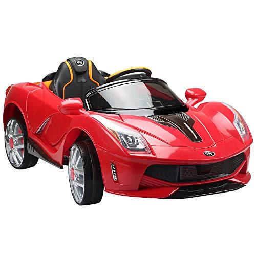 HOMCOM Coche Electrico de Bateria 12V para Niños Infantil Deportivo 130x71x52cm 3-8 Años Musica MP3 (Rojo)