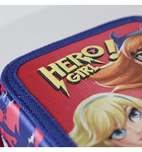 Plumier estuche cremallera triple 3 pisos Hero Girl 43 piezas contenido Giotto + REGALO 12 Rotuladores BIC Kids