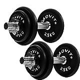 MOVIT® Gusseisen Kurzhantel 2er Set, Varianten 20kg, 30kg, 40kg, 50kg, 60kg, gerändelt mit Sternverschlüssen Chrom-Hantel-Set -