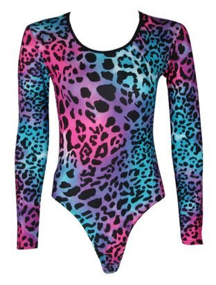 The Home of Fashion New Womens Neon Pink and Blue Leopard Print Leotard Bodysuit Size 8-14 (12 (ML))