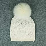 Diamond Head Cap Kabel Bobble Hut Slouchy Beanie Hüte Mit Kunstfell Cap Für Frauen Mädchen,F
