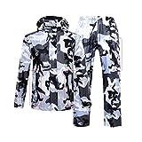 LAXF- Manteaux imperméables Combinaison de pluie pour hommes et femmes vêtements de pluie réutilisables (veste de pluie et pantalon de pluie ensemble) Adultes imperméable à l'épreuve de la pluie coupe-vent à capuchon travail en plein air moto golf pêche randonnée chasse camo ( Couleur : B , taille : L )