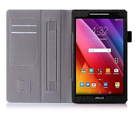 ISIN Housse pour Tablette Série Étui Premium PU avec Support pour ASUS Zenpad 8 de 8.0 pouces Z380C Z380KL Z380M Tablette Avec Sangle Velcro et Slot Cartes (Noir)
