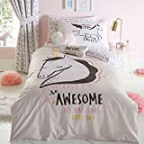 Bluezoo Awesome Unicorn Bettbezug Set, Polycotton, mehrfarbig, Doppelbett