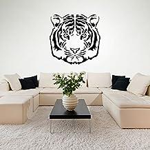 Cabeza clásica de los tigres Retrato del gato grande Animales salvajes vinilos decorativos Inicio art pegatinas disponible en 5 tamaños y 25 colores X-Grande Blanco
