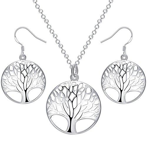 LWLH Jewelry Damen-Schmuckset Halskette und Ohrringe Sterlingsilber versilbert Baum des Lebens - Auswahl Der Einheit Der Oberfläche