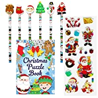Oxford Novelties 30 Kids Christmas Pencils & Erasers & 30 Puzzle Activity Books With 3D STICKERS