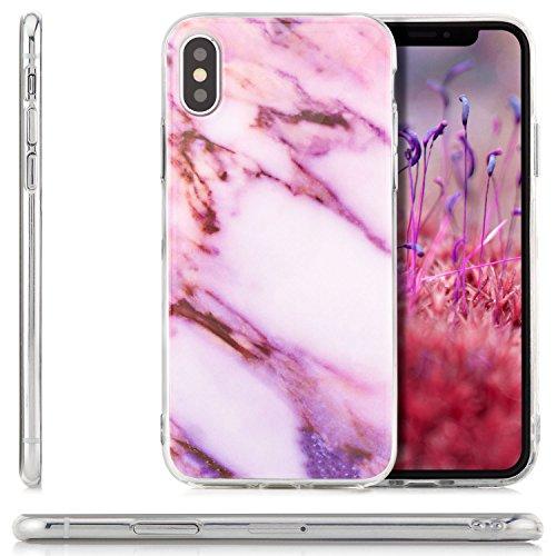 zanasta iPhone X Coque de Protection en Silicone Case [zanasta] Ultra Mince Premium Soft Flexible TPU Gel Cover Housse Etui Marbre-Gris-Noir Rose