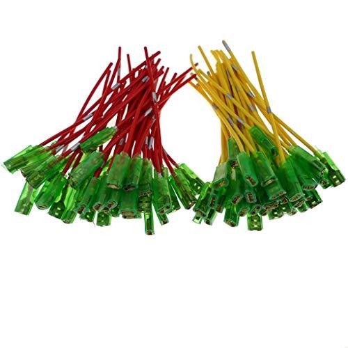 80x Kabel mit 6,3mm Flachsteckhülse isoliert Kabelschuhe Kupfer Rot Gelb