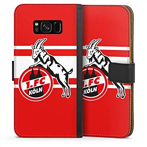 DeinDesign Tasche Leder Flip Case Hülle kompatibel mit Samsung Galaxy S8 1. FC Köln Streifen Fanartikel